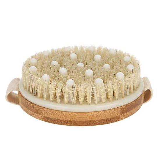 Szczotka z naturalnym włosiem i wypustkami masującymi do masażu ciała na sucho