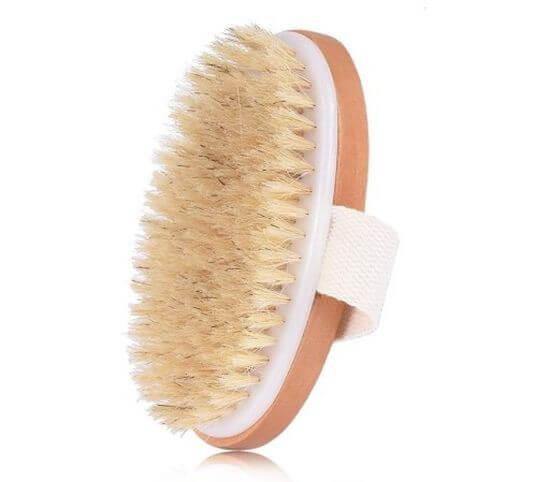 Szczotka z naturalnym włosiem do masażu ciała na sucho